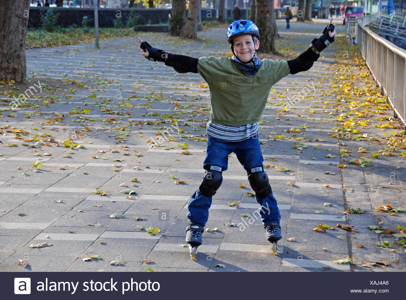 Young inline-skater, Cologne, North Rhine-Westphalia, Germany Stock Photo
