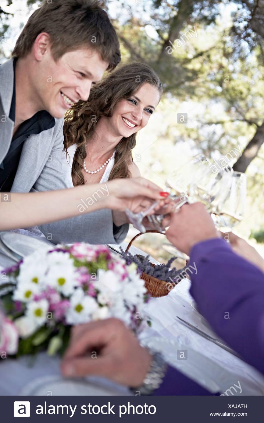 Wedding Celebration, Wedding Guests Toasting, Croatia, Europe - Stock Image