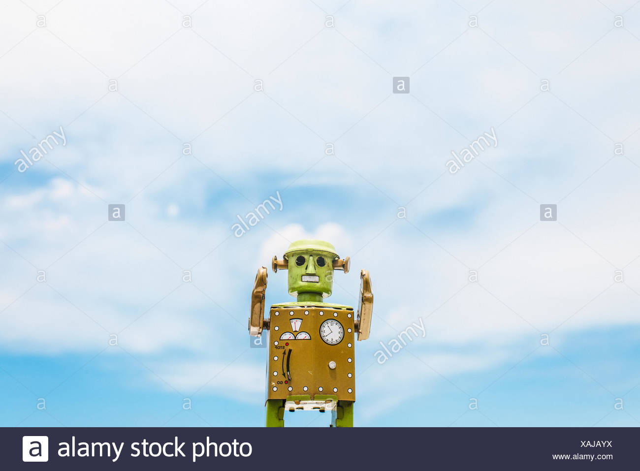 Robot Toy Imagination Retro Styled Cloudscape Sky Concept - Stock Image