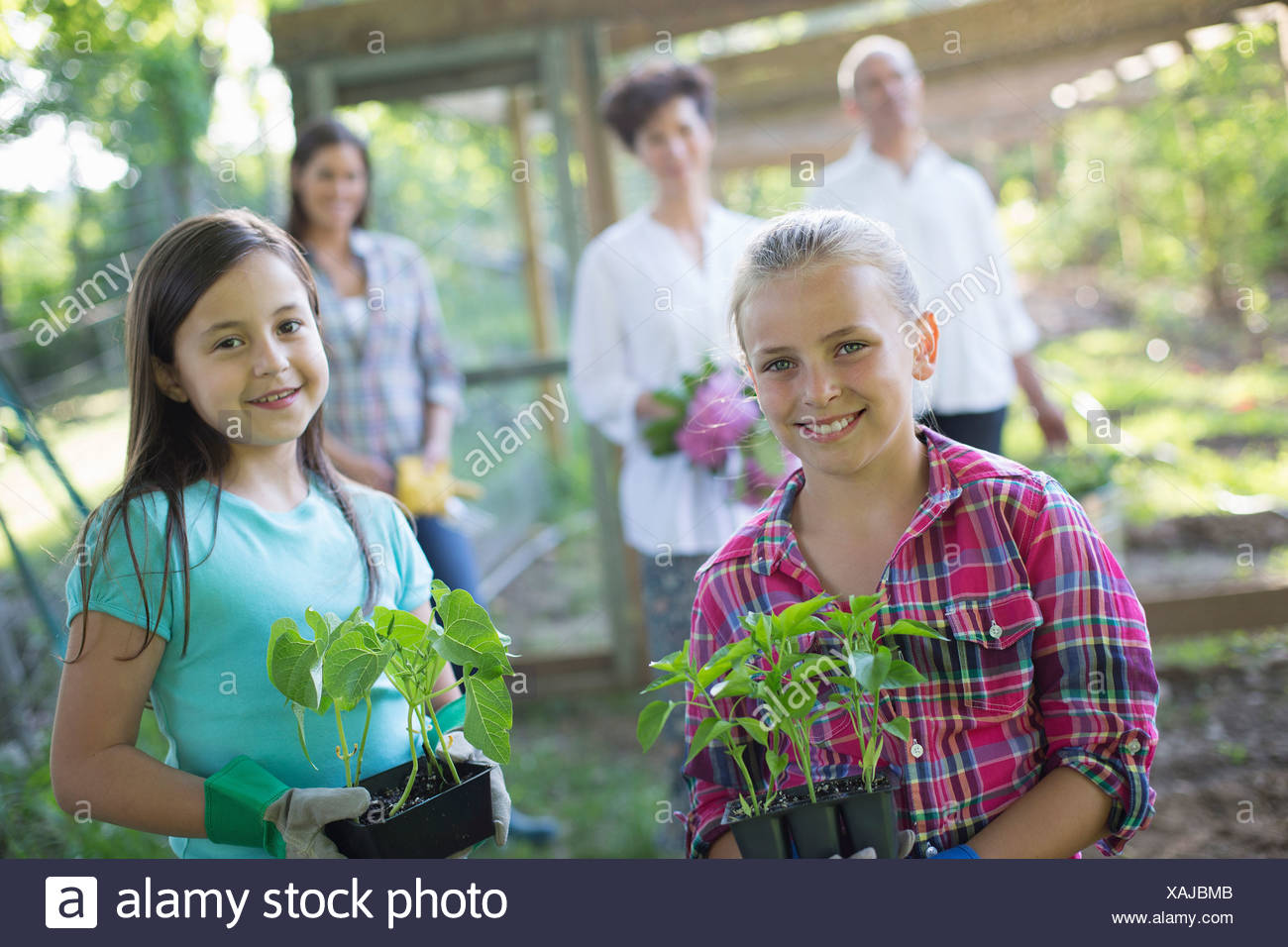 Organic farm. Summer party. Two girls sitting holding young plants, with a mature couple and a young woman looking on. - Stock Image