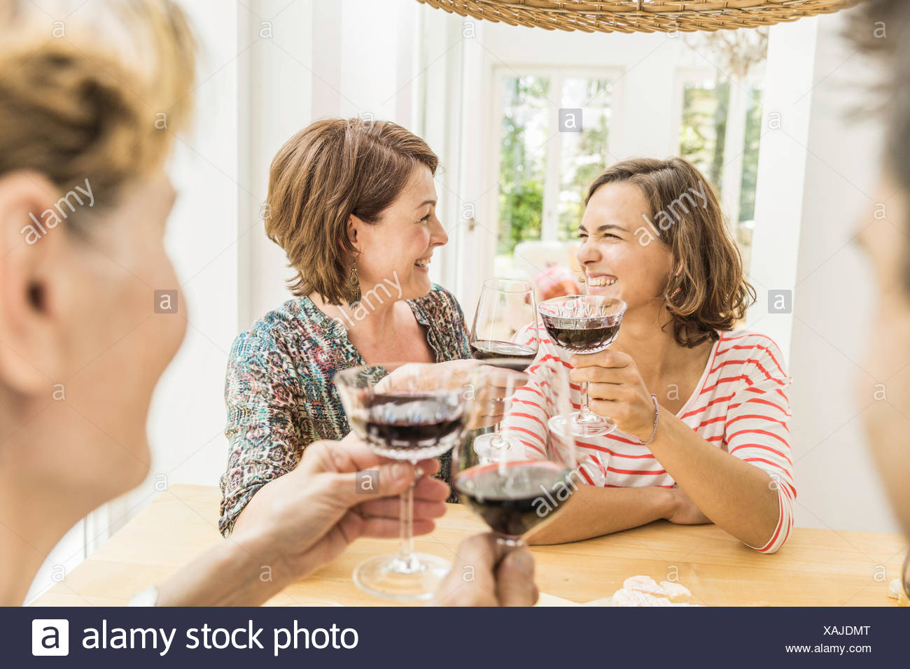 Four adult friends making a red wine toast at dinner Stock Photo