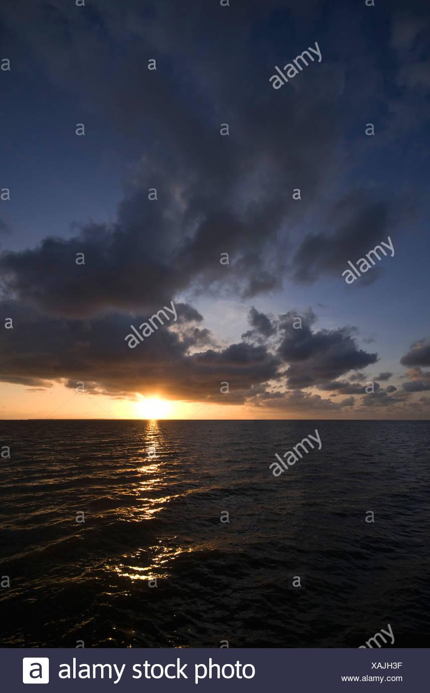 Sunset at sea, North Sea, Germany, Europe Stock Photo