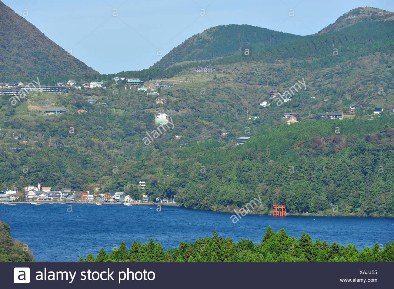 Ashi Lake, Asia, Hakone, Hakone Jinja, Honshu, Horizontal, Japan, Kanagawa Prefecture, Kanto, Shinto, Shrine, Torii - Stock Image