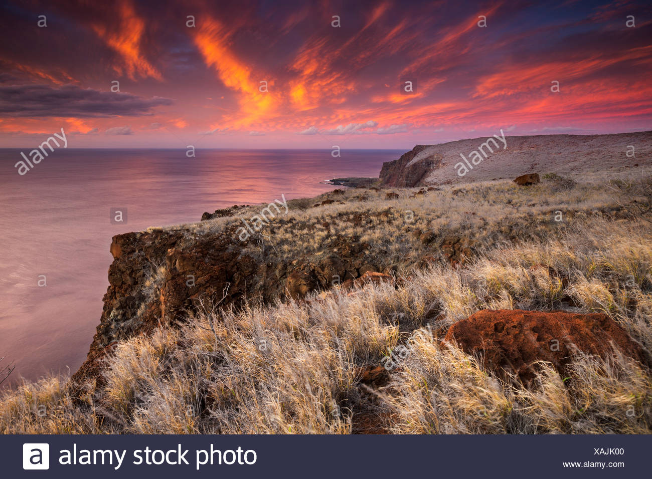 View over the Ancient Hawaiian Ruin of Kaunolu, Lana`i, Hawai`i - Stock Image