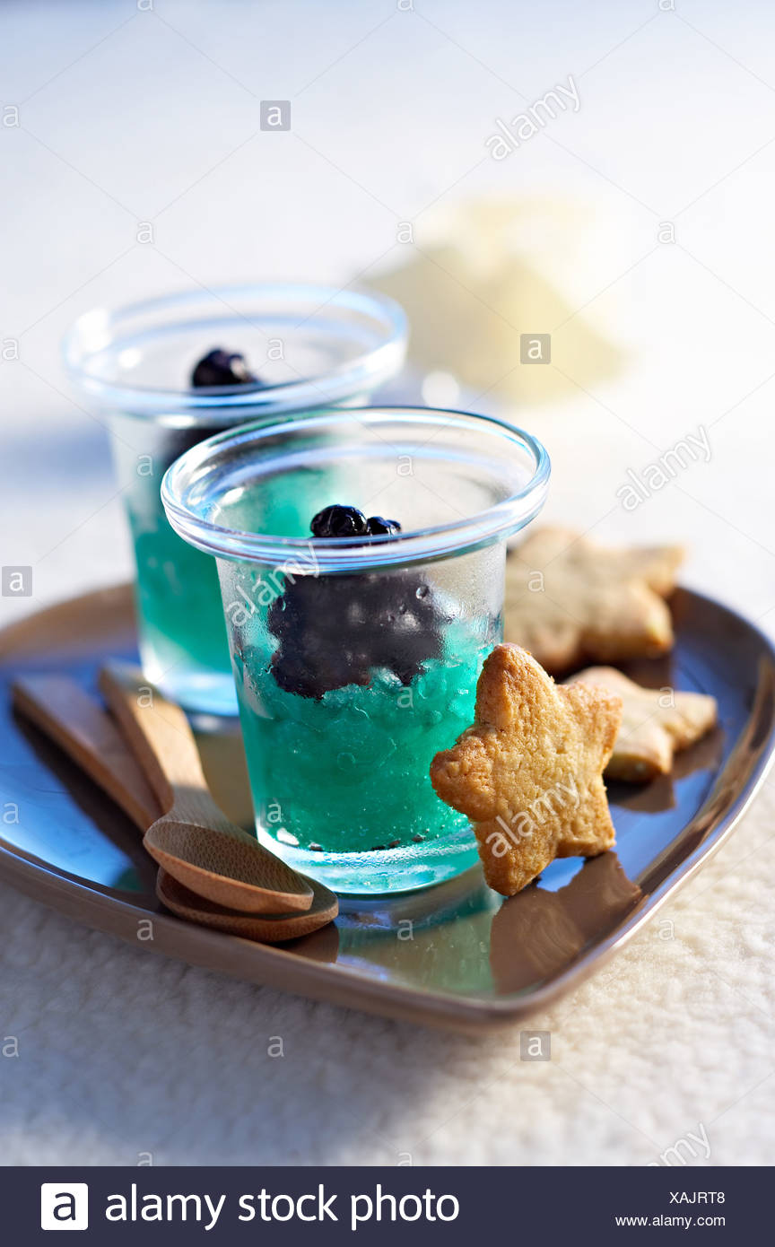 cooking Blueberries Sorbet - Stock Image