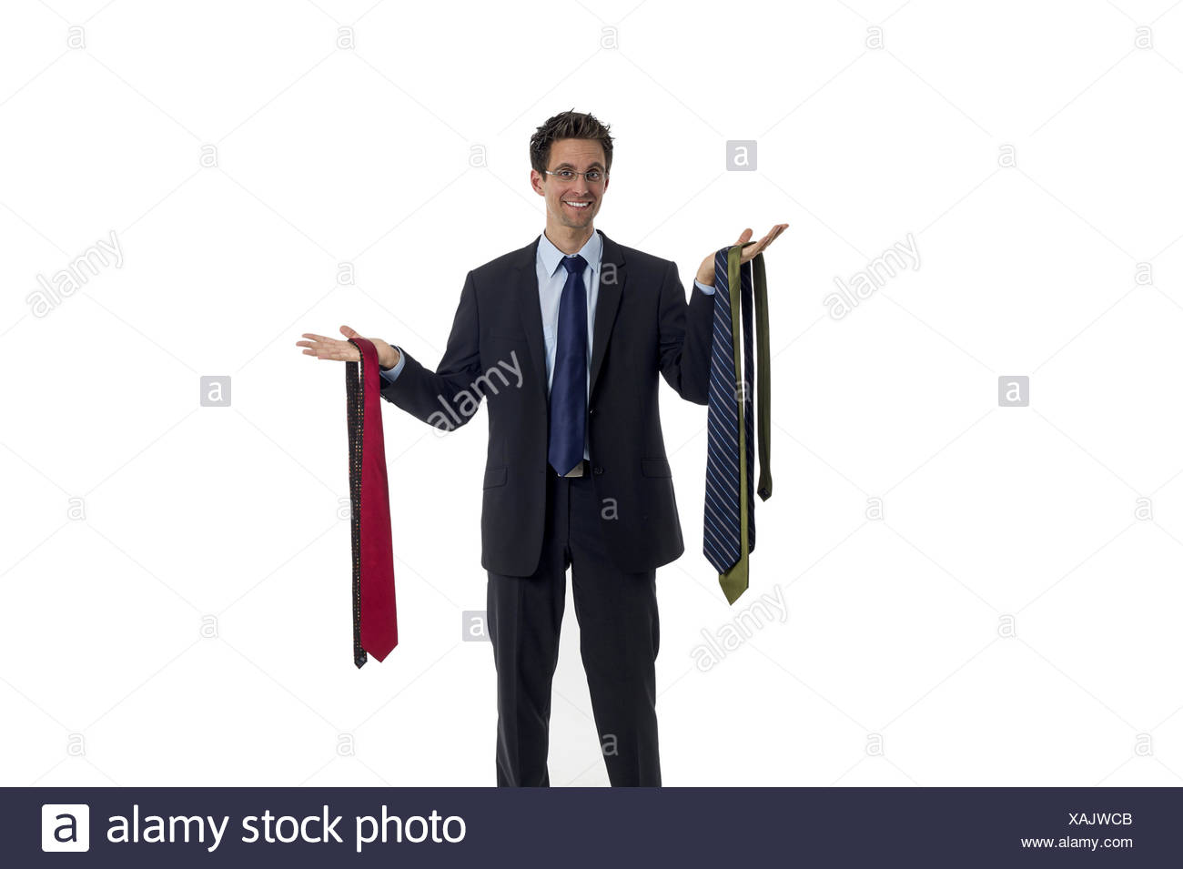 Man chooses a tie from - Stock Image