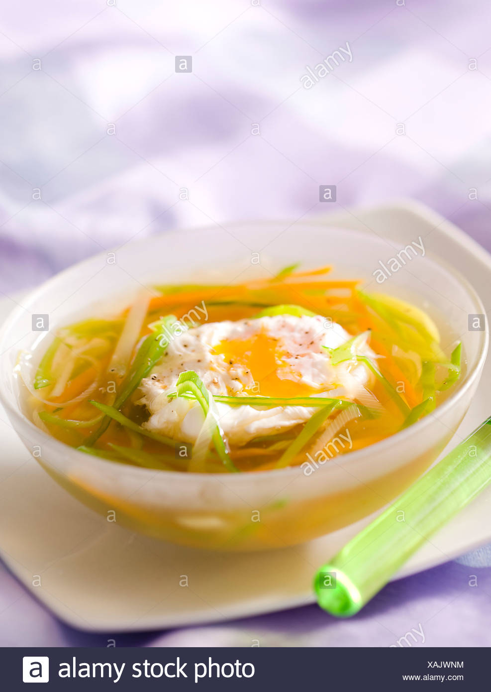 Vegetable Soup and Egg - Stock Image