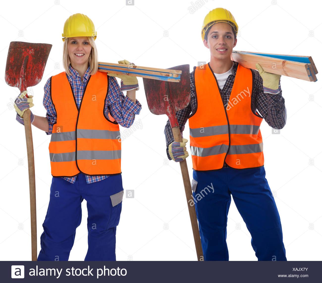 construction worker construction man woman cut - Stock Image