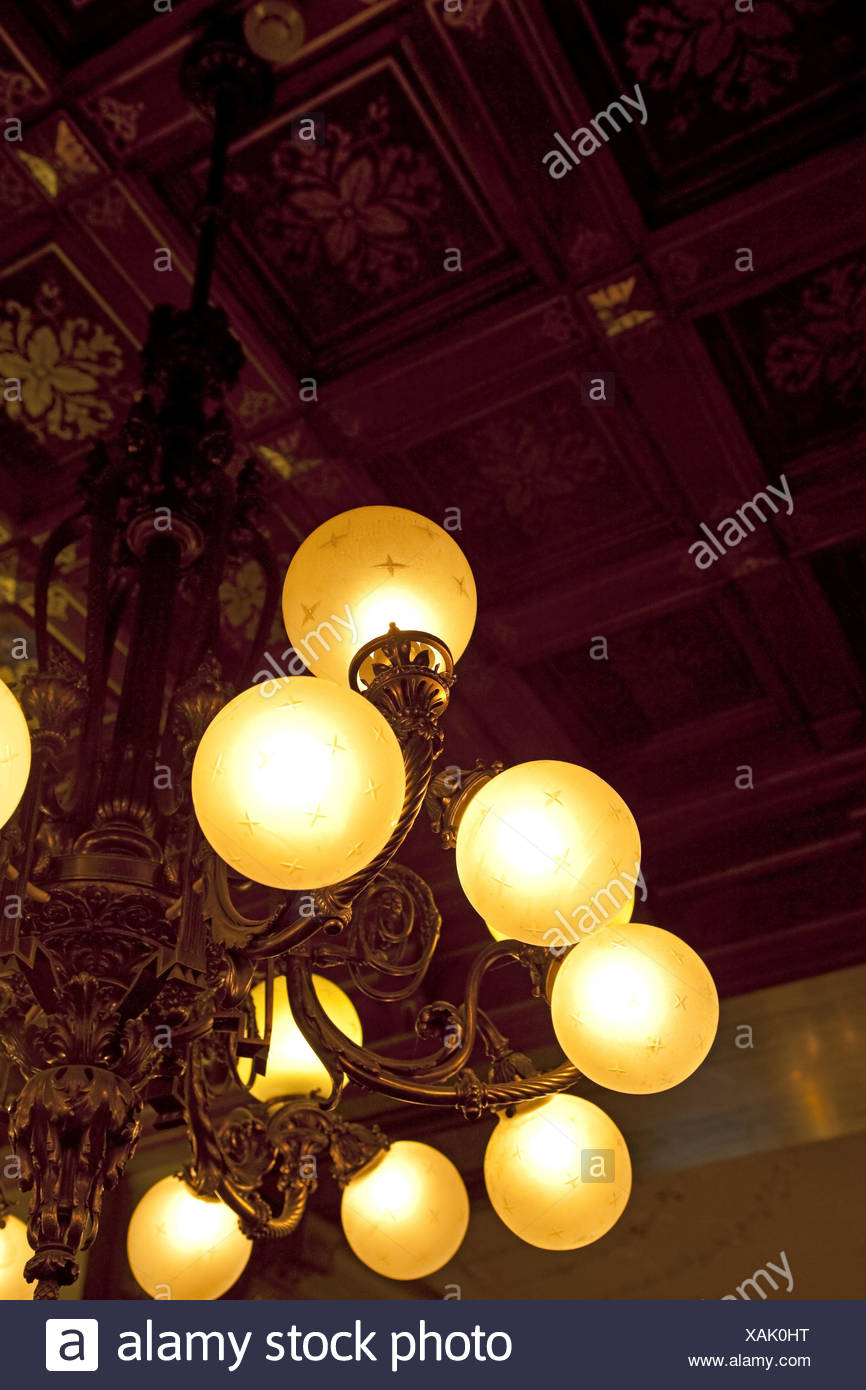Austria, Vienna, Demel, ceilings, chandeliers, hang, Stock Photo