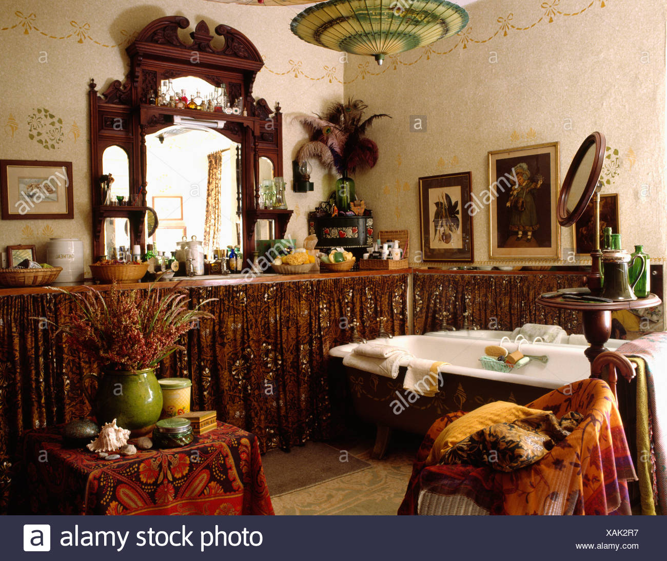 Edwardian Mirror Above Curtains On Vanity Units In Eighties Bathroom Stock Photo Alamy