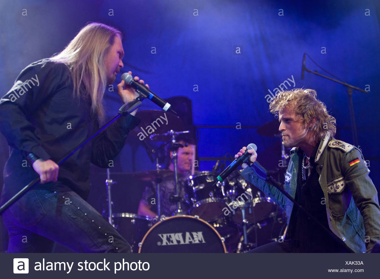 Tobias Sammet, singer and frontman, and Jorn Lande, ex-Masterplan, of the German power-metal band Avantasia, performing live at - Stock Image