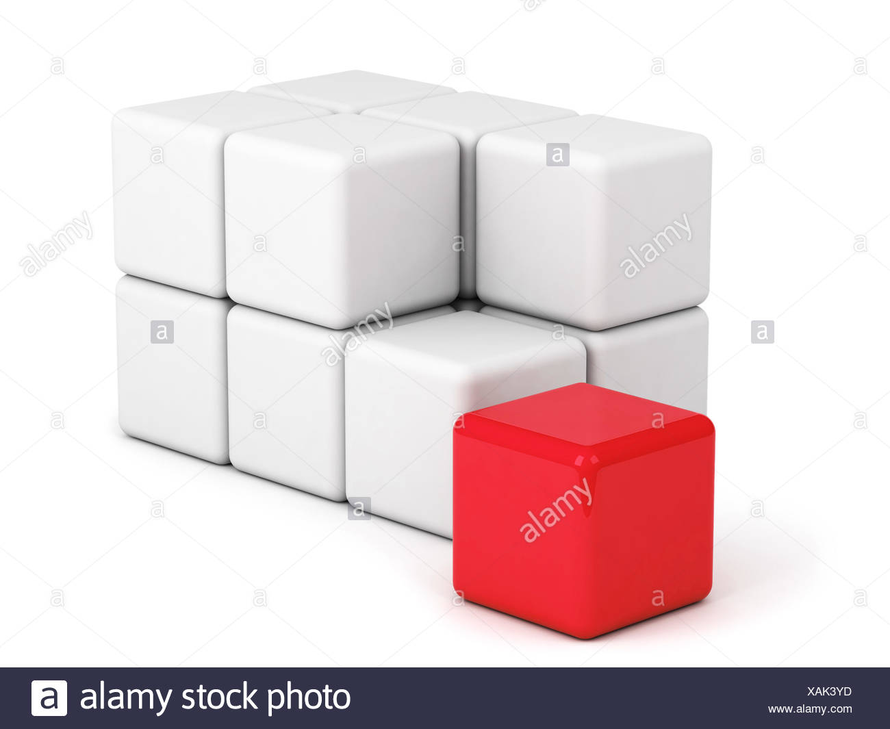 bright red box ouf of the crowd - Stock Image