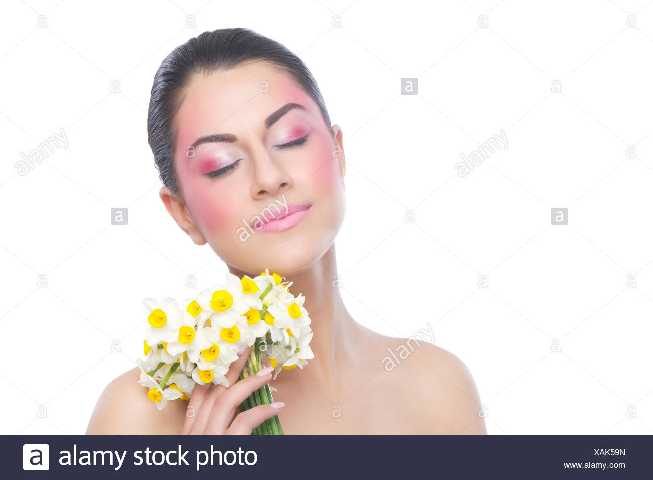 Beautiful woman with flowers stock photo 281933729 alamy beautiful woman with flowers izmirmasajfo