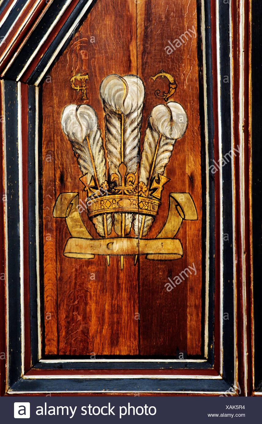 Falkland Palace, monogram of Prince of Wales, later Charles 2nd, Scotland, Scottish palaces UK Ich Dien three feathers Stuart - Stock Image