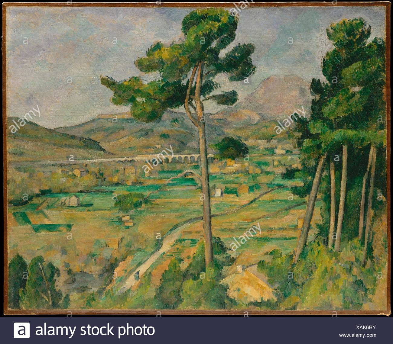 Mont Sainte-Victoire and the Viaduct of the Arc River Valley. Artist: Paul Cézanne (French, Aix-en-Provence 1839-1906 Aix-en-Provence); Date: Stock Photo