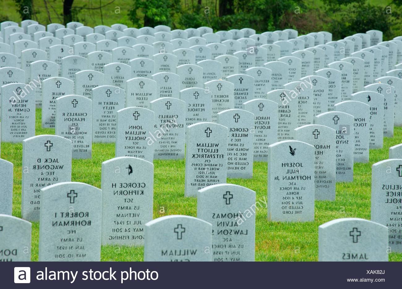 Headstones, Indiantown Gap National Cemetery, Pennsylvania. - Stock Image