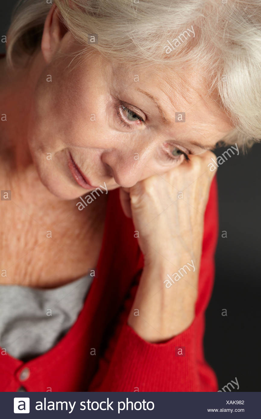 Senior woman suffering from depression - Stock Image
