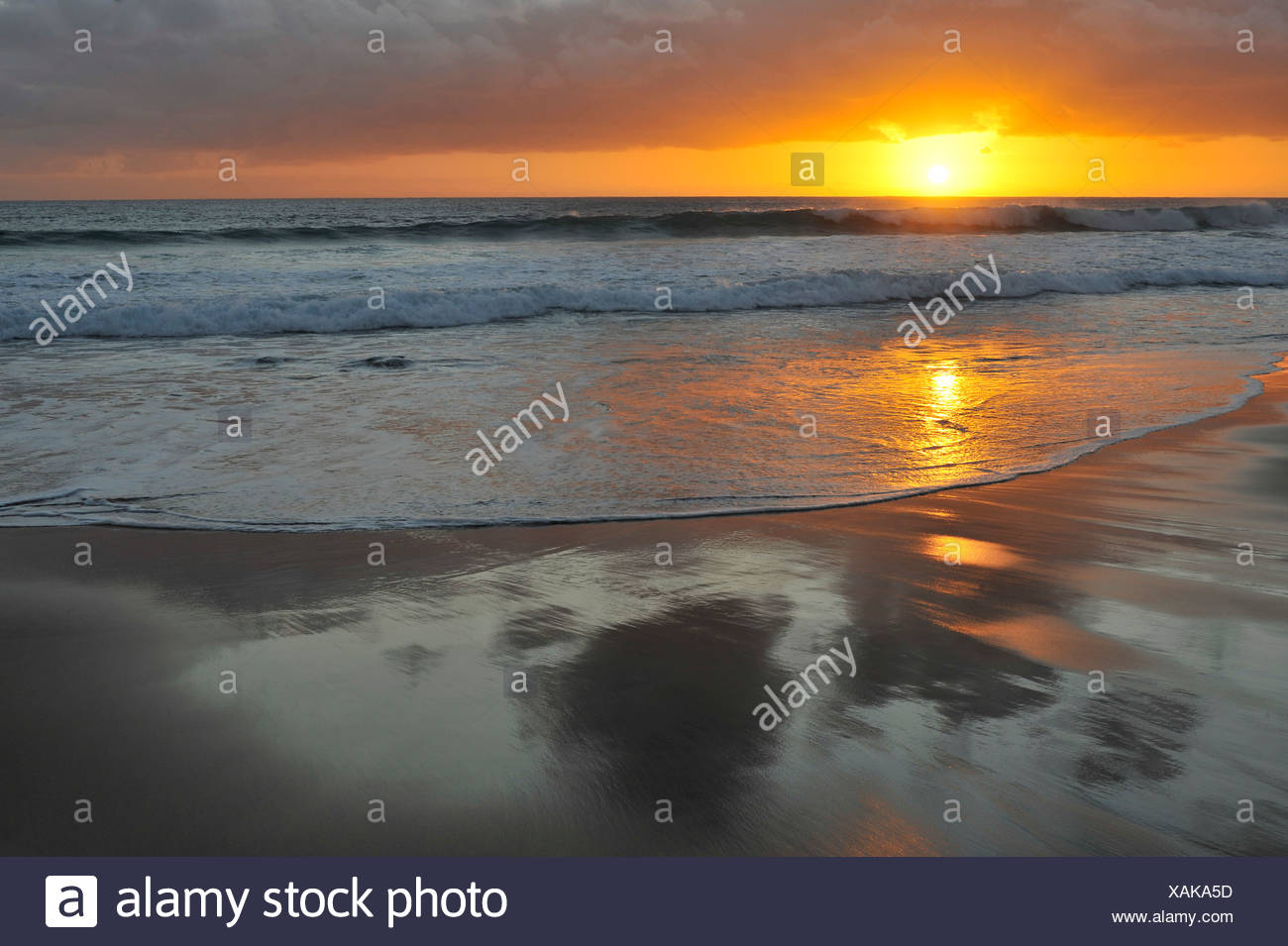 Sunset at the Atlantic, Fuerteventura, Canary Islands, Spain, Europe Stock Photo