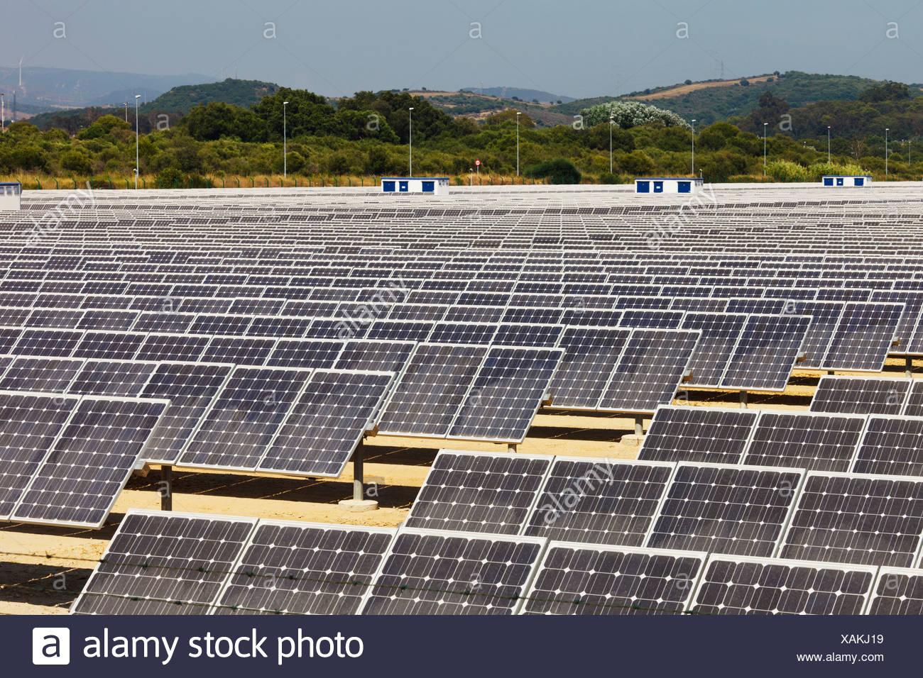Solar Energy Centre Near Guadarranque; San Roque, Cadiz, Andalusia, Spain - Stock Image