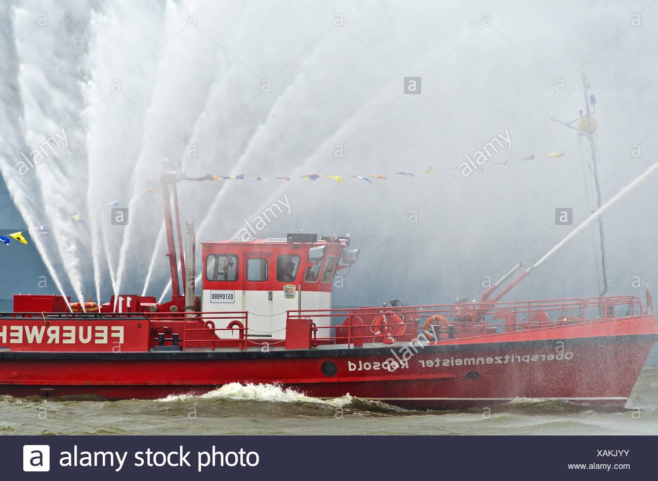 fireboat of the firebrigade Hamburg - Stock Image