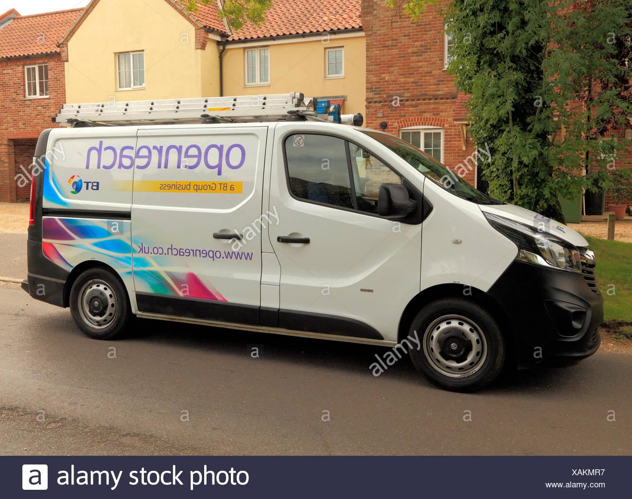 Openreach, Open Reach, BT, British Telecom, van, service, repair, vehicle, vehicles, vans, repairs, maintenance, England, UK - Stock Image