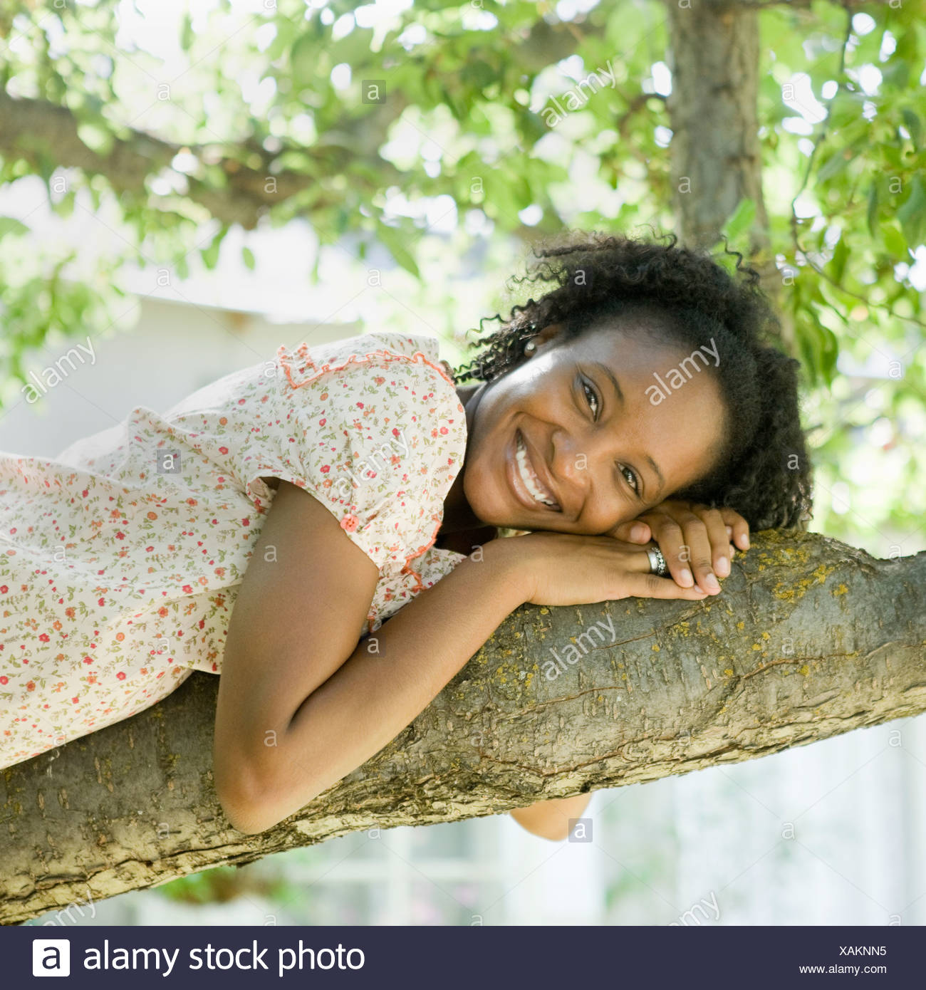woman lying down on a tree branch - Stock Image