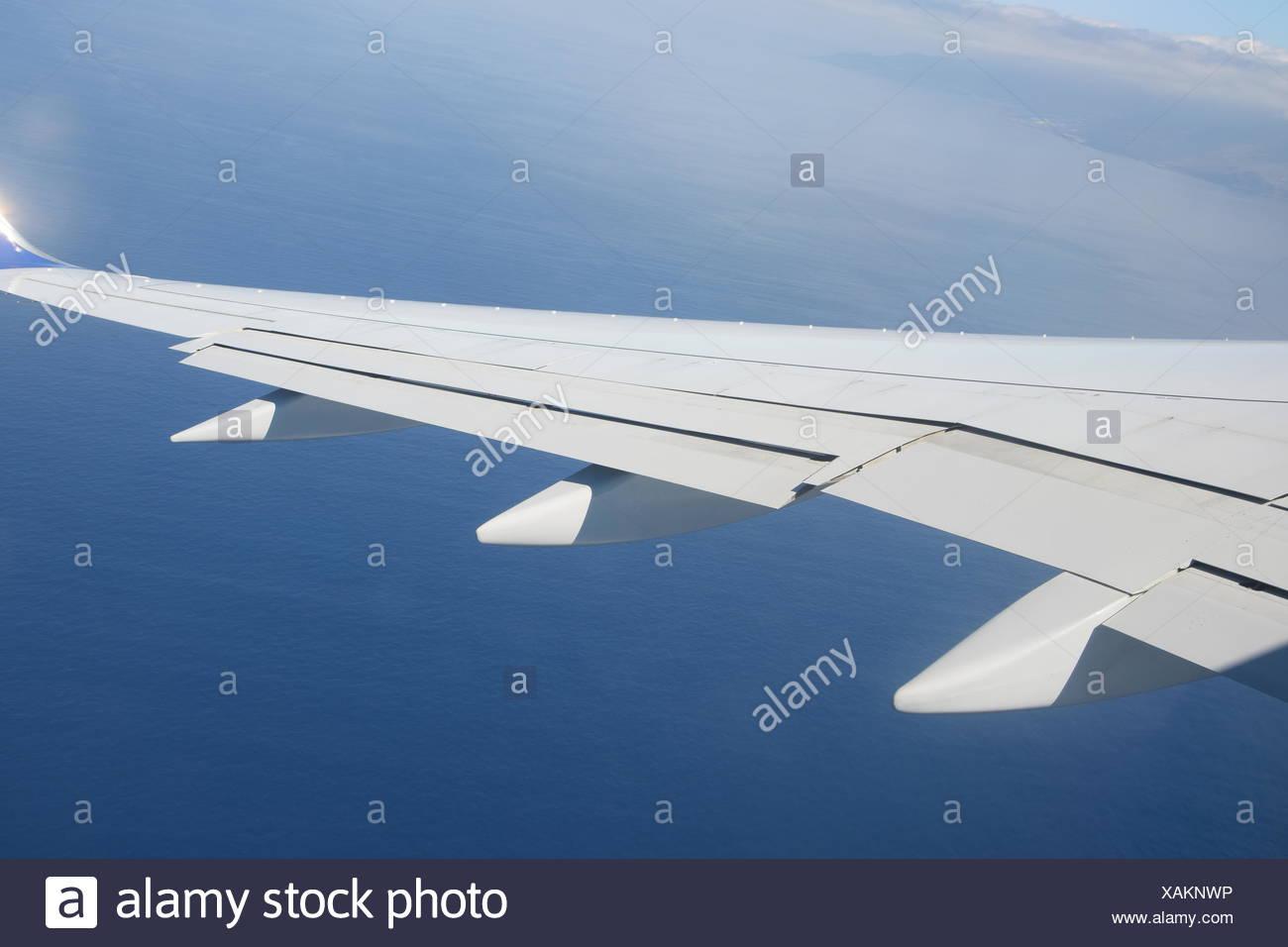 flugzeug, flug, fliegen, fliegen, reise, urlaub, flugzeugflügel, wolke, wolken, urlaubsreise, flugreise, transport, verkehr, luft Stock Photo