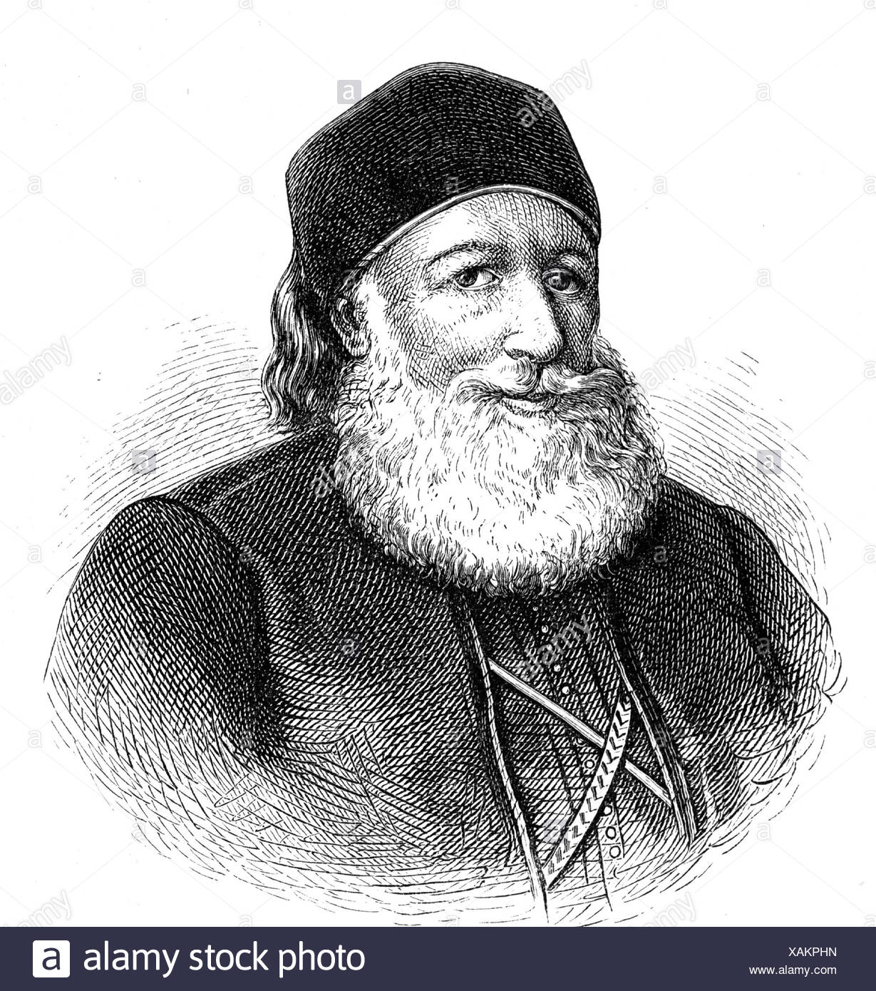 Muhammad Ali, 1769 - 12.8.1849, Khedive of Egypt 13.2.1841 - 12.8.1849, portrait, wood engraving, 19th century, , Additional-Rights-Clearances-NA - Stock Image