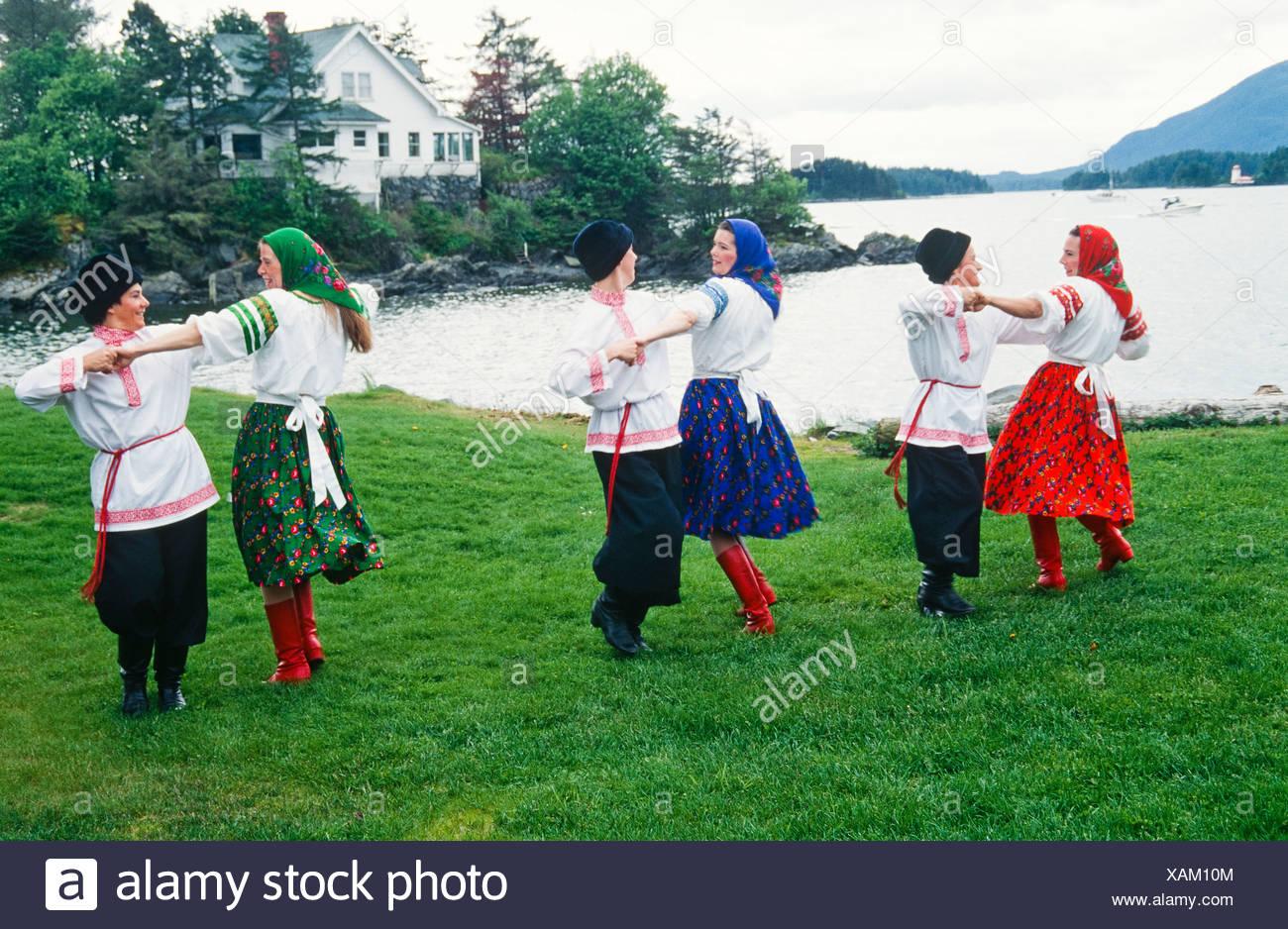 Alaska. Sitka. New Archangel Dancers on Sitka Island. - Stock Image