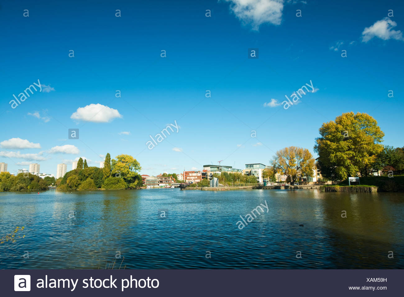 Marina at the confluence of the River Brent with The Thames at Kew, London, Uk - Stock Image