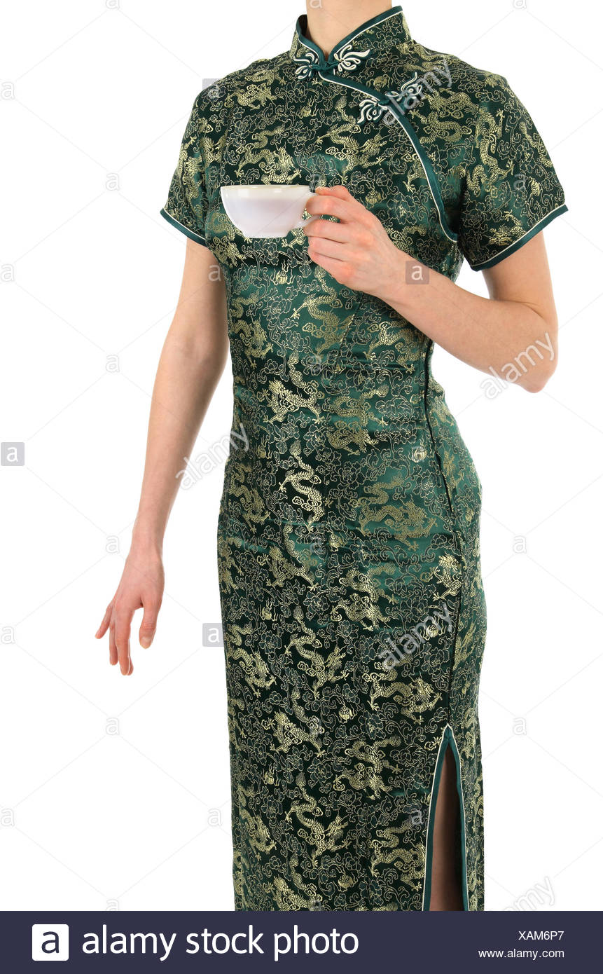 c78e2c458 Woman in Chinese dress with a cup of tea Stock Photo: 281956815 - Alamy