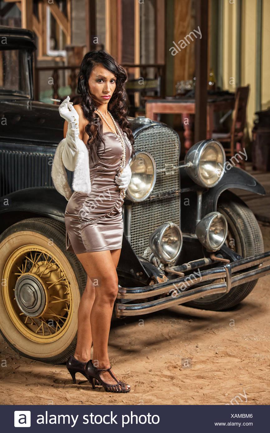Skirt Mini Car Photo Smoking Heels Old Stock Woman High And Near In 45jRLA