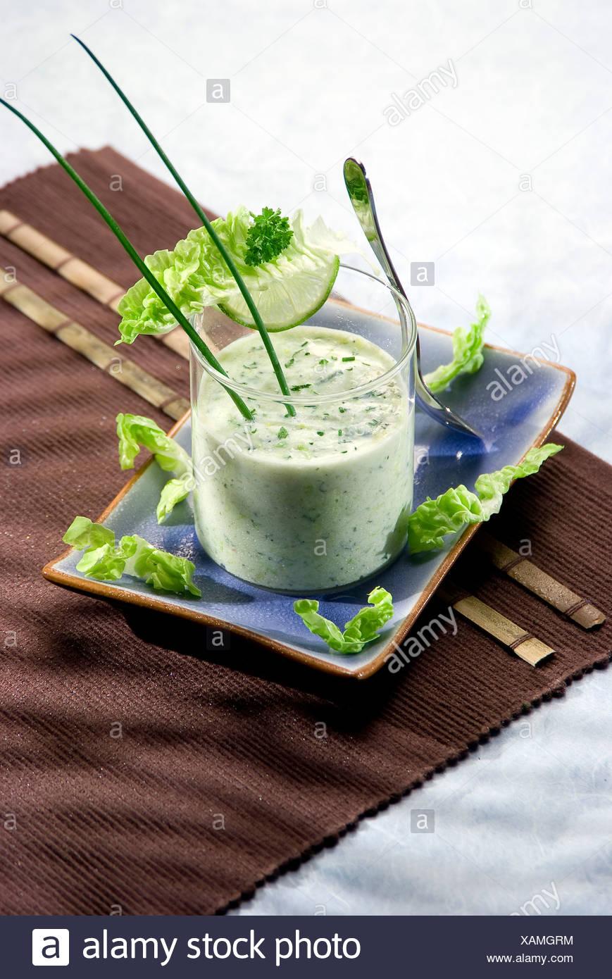 Fresh yogurt and chive dip - Stock Image