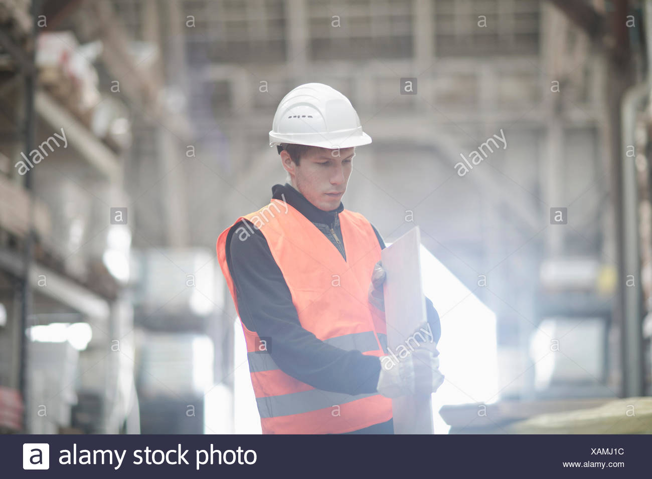 Young male warehouse worker examining plank in warehouse - Stock Image
