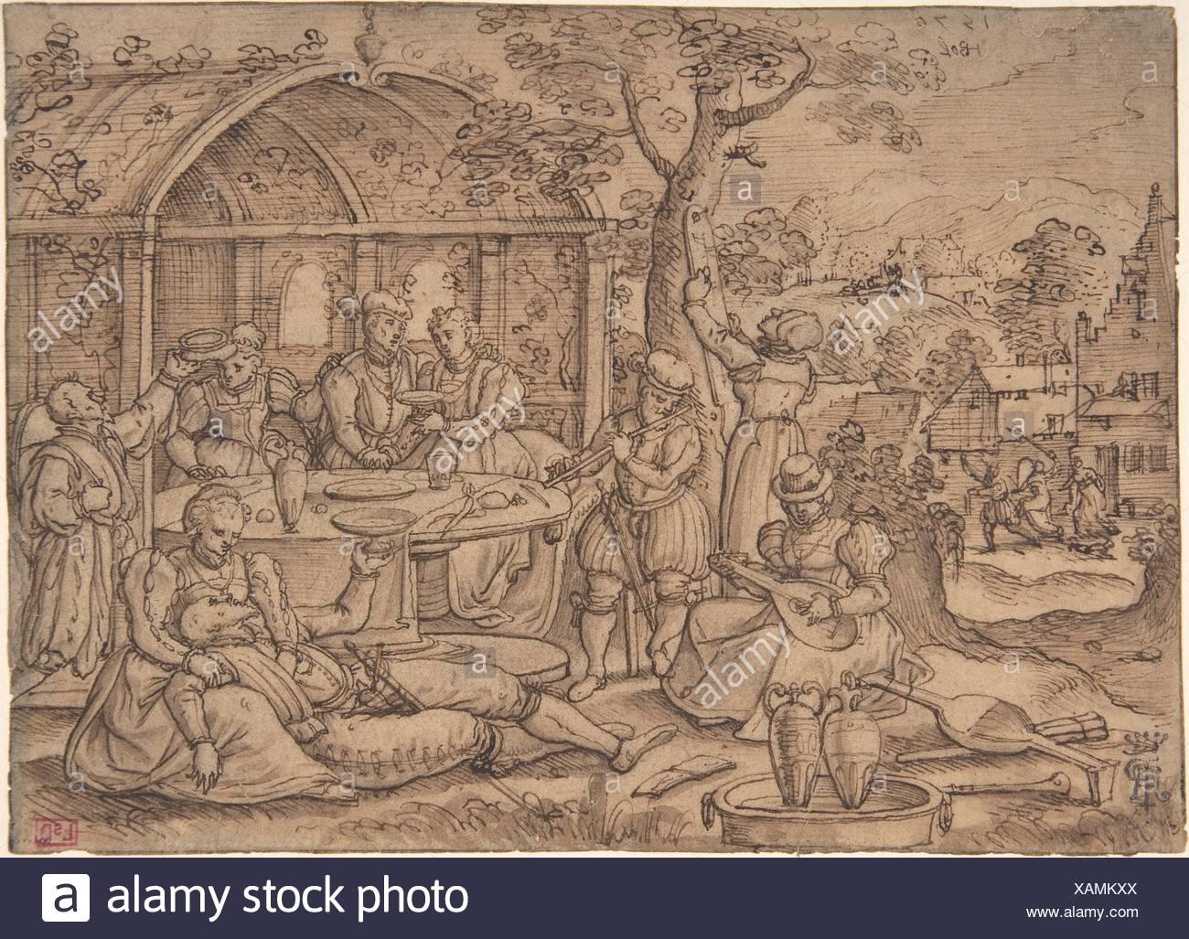 Artist: Hans Bol (Netherlandish, Mechelen 1534-1593 Amsterdam); Date: 1570;  Medium: Pen and brown ink, brown wash; Dimensions: 5