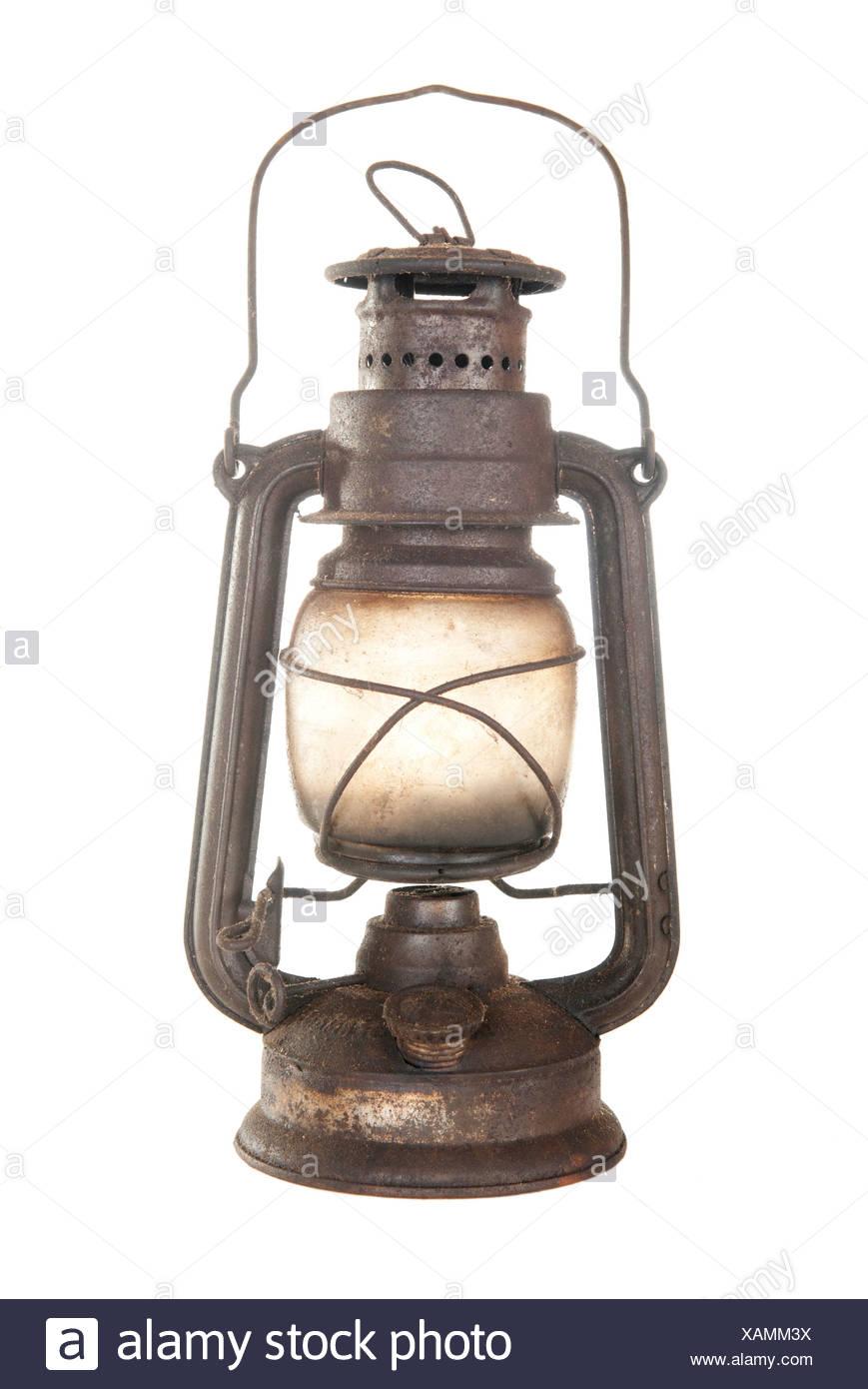old rusty kerosene lamp - Stock Image