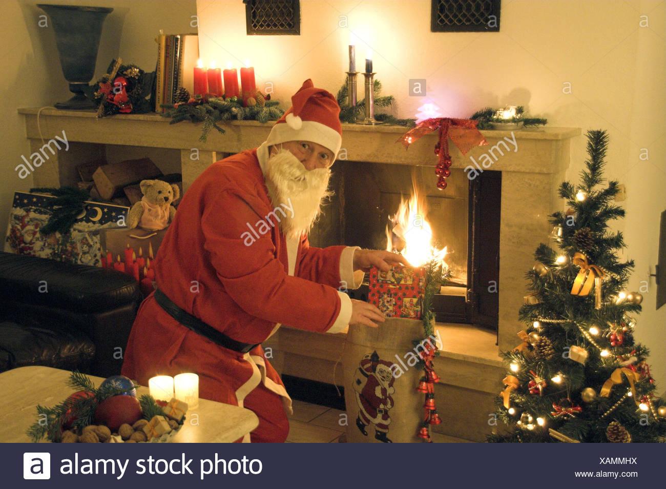 fireplace christmas santa claus chimney stock photos fireplace