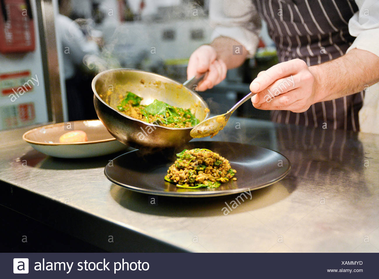 Restaurant chef placing cooked lentil dish on plate - Stock Image