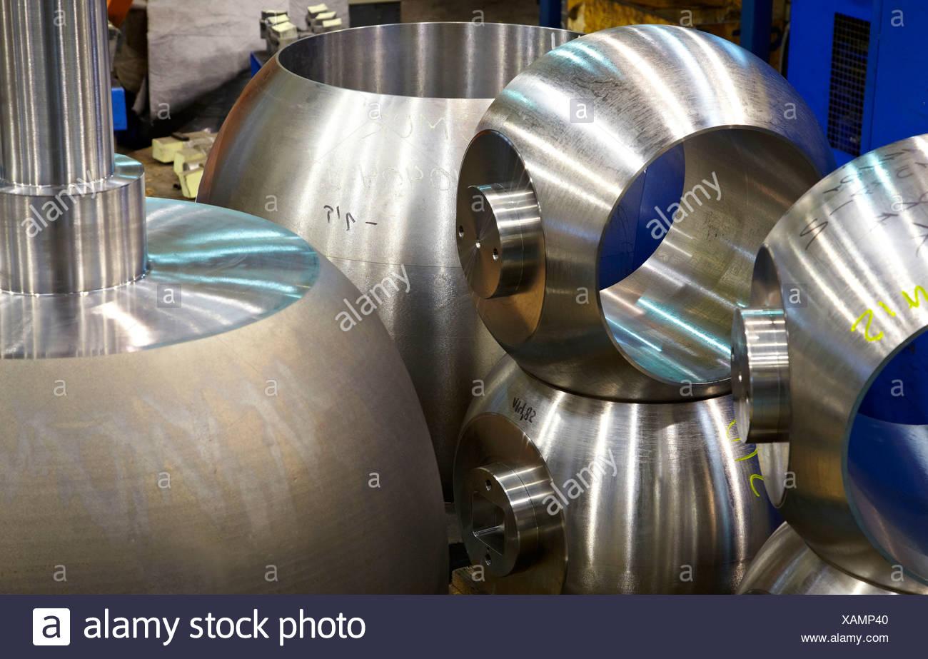Micrometer dimensional control, ball valves, metalworking, Gipuzkoa, Euskadi, Spain - Stock Image