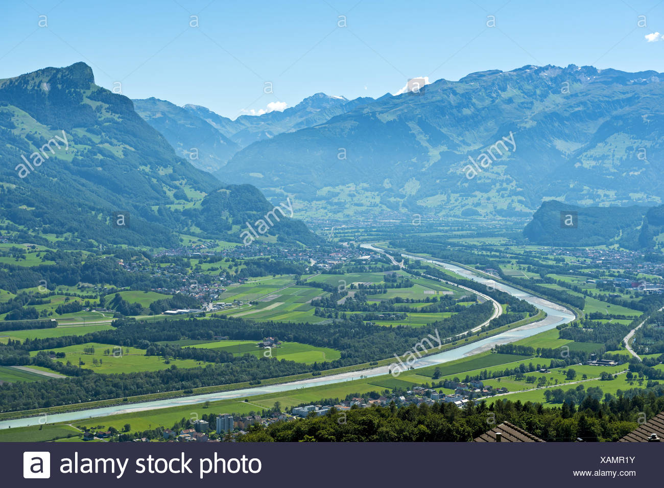 Rhine valley near Balzers,Liechtenstein Stock Photo