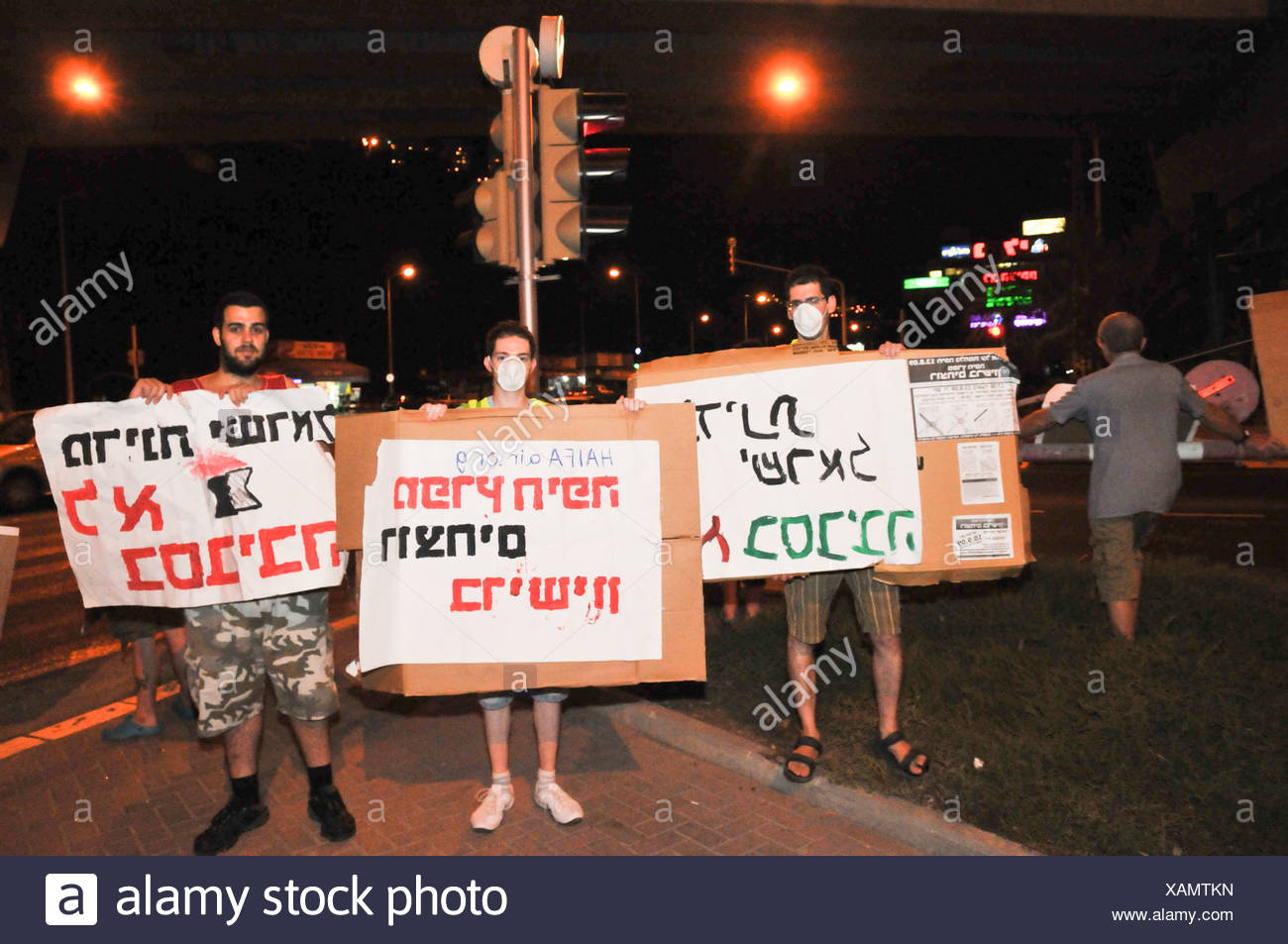 Israel, Haifa Bay, Activists protest against the air pollution from the factories in Haifa bay, - Stock Image