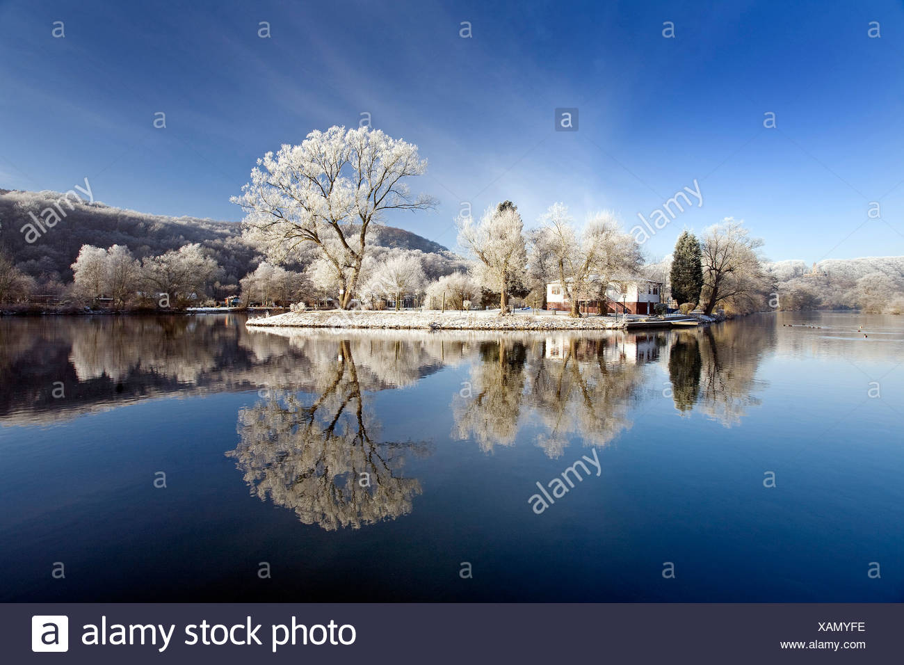 Ruhr valley in winter near Witten with Berger memorial in the background, Germany, North Rhine-Westphalia, Ruhr Area, Hattingen Stock Photo
