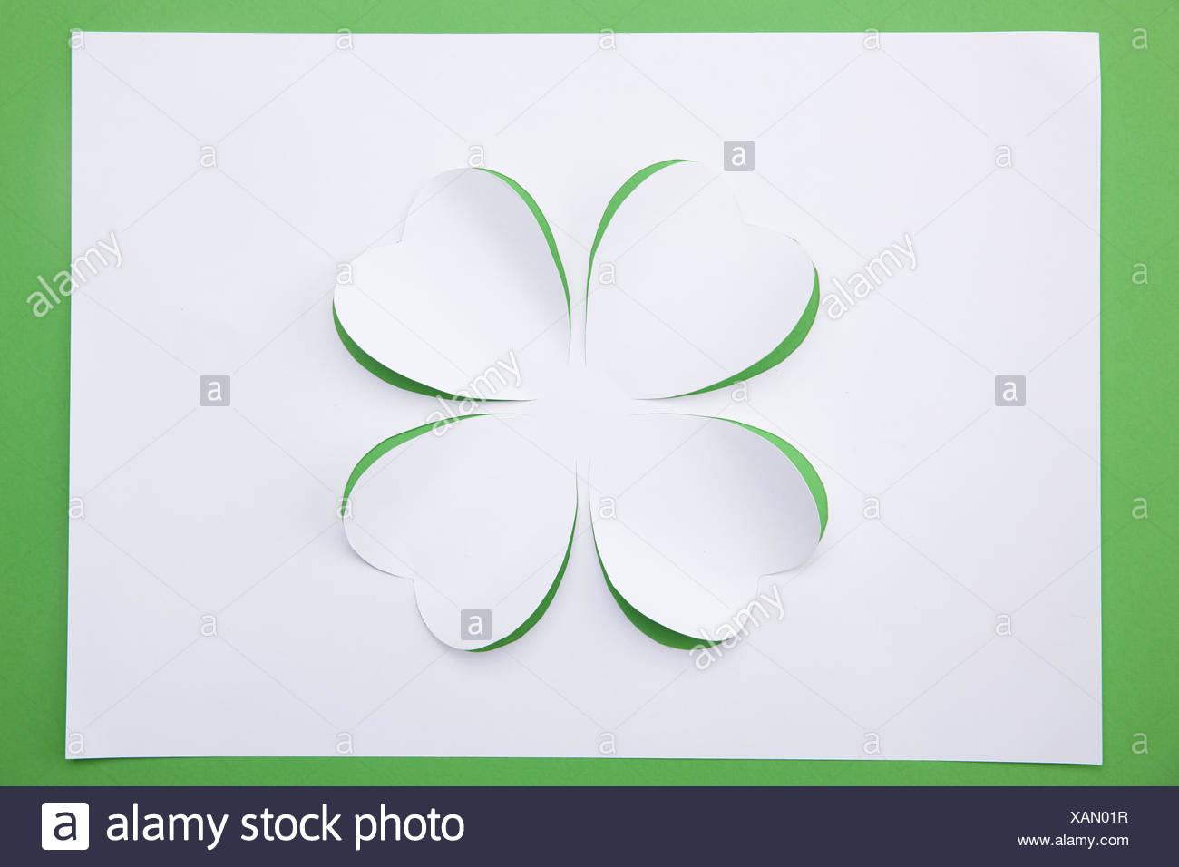 Four-leaf clover, paper art - Stock Image