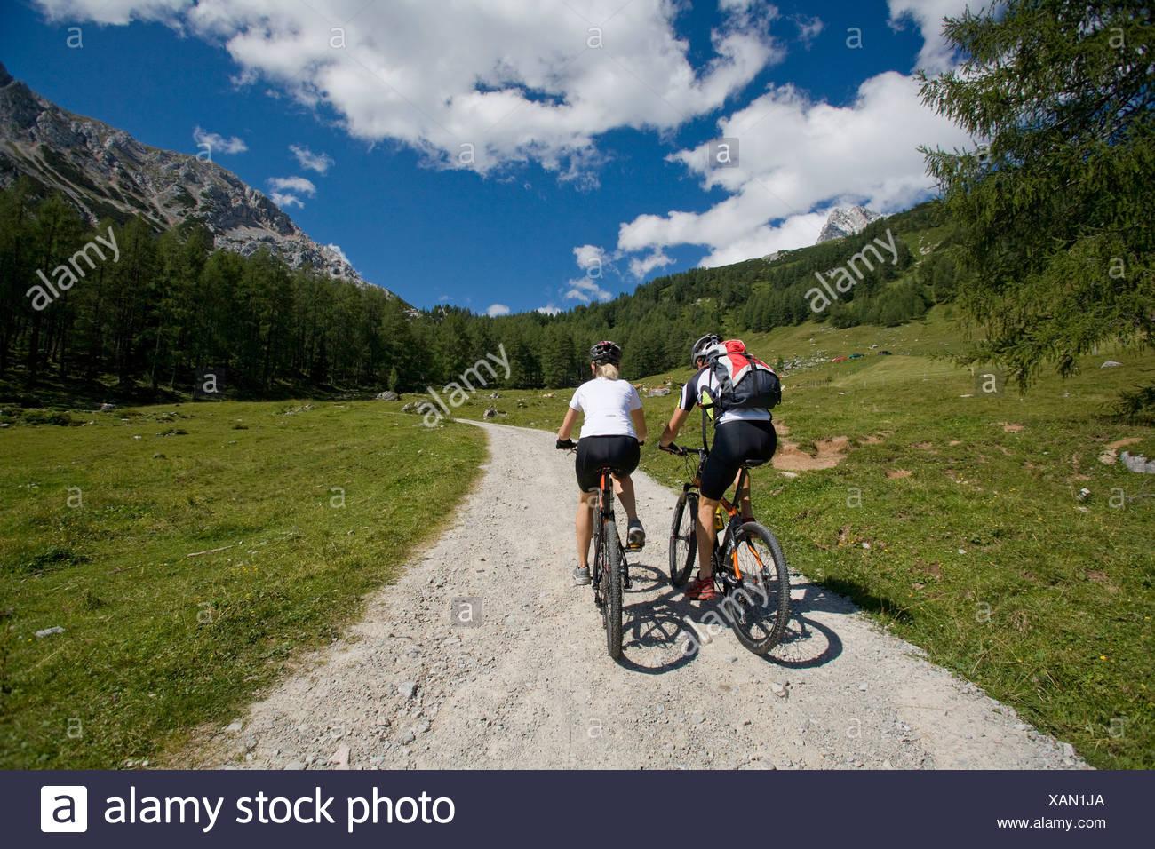 Bike Austria Filzmoos Salzburg summer alp mountain alps alpine mountains landscape scenery nature Bicycle Bicycles Bicycling - Stock Image