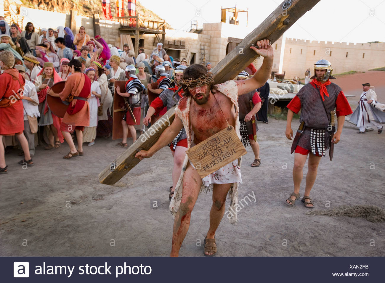 Jesus carrying the cross - Stock Image
