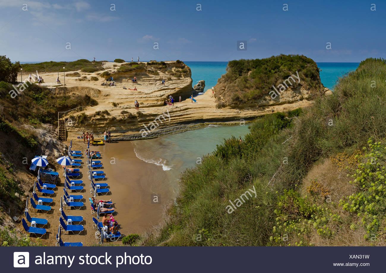 Canal d' amour, Sidari, Corfu, Europe, Greece, landscape, water, summer, beach, sea, deckchairs, - Stock Image