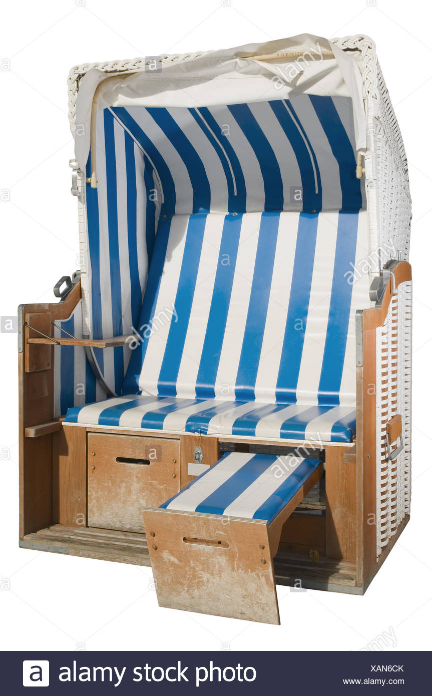 beach chair with one footstool - Stock Image