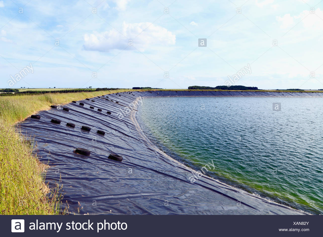 agricultural reservoir, man made, water supply for agriculture, Norfolk, England, crop irrigation, UK, reservoirs - Stock Image