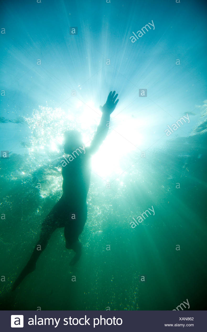 Underwater view looking up at a swimmer on the surface of a lake - Stock Image