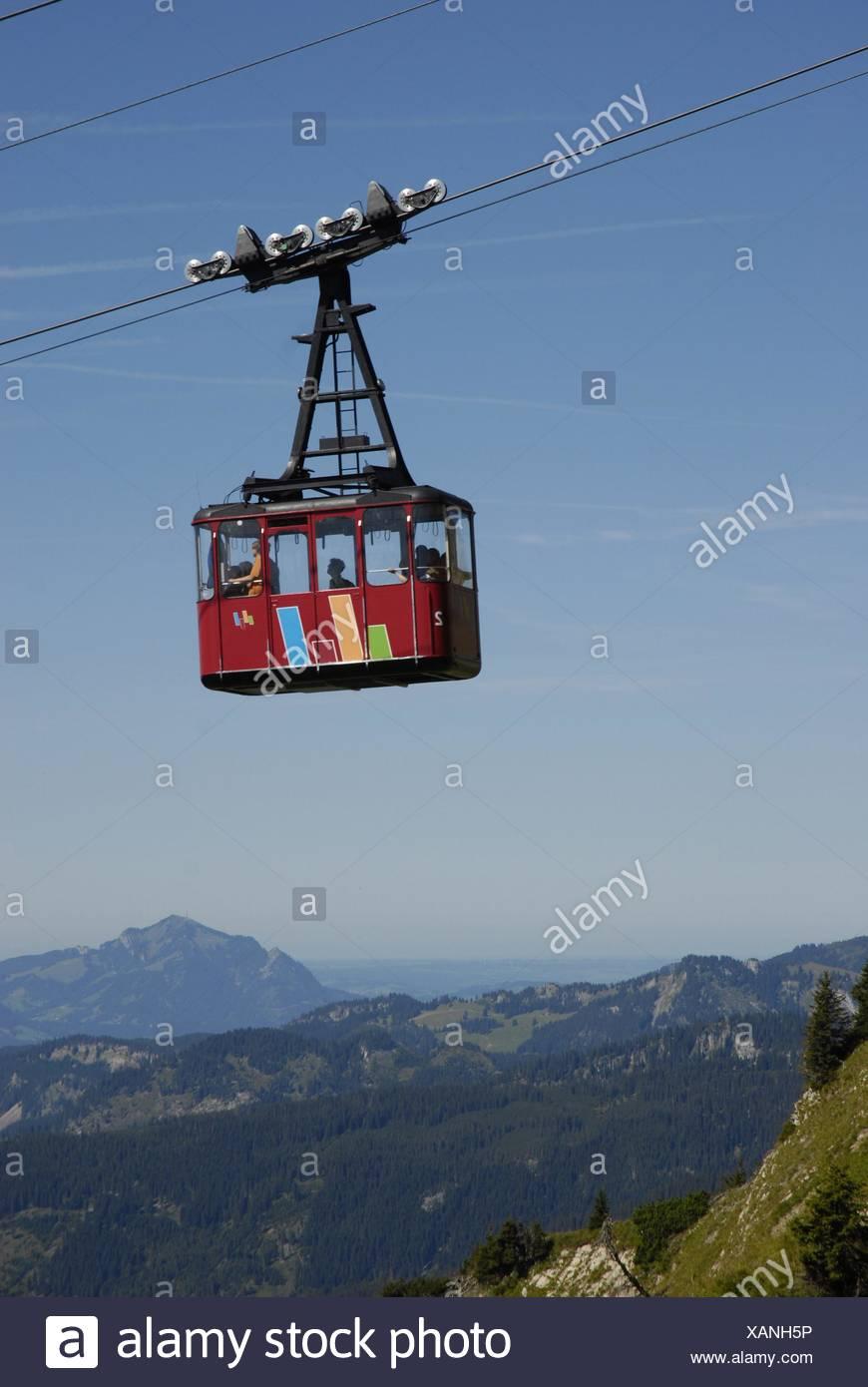 Kabine der Walmendingerhornbahn, HG. Allgäuer Berge mit Grünten Stock Photo